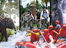Full Day Tour: Village Cycling + Elephant Trek + Rafting