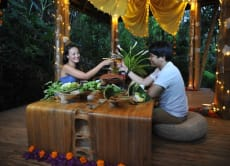 Enjoy a Romantic Candlelight Dinner in an All-Bamboo House
