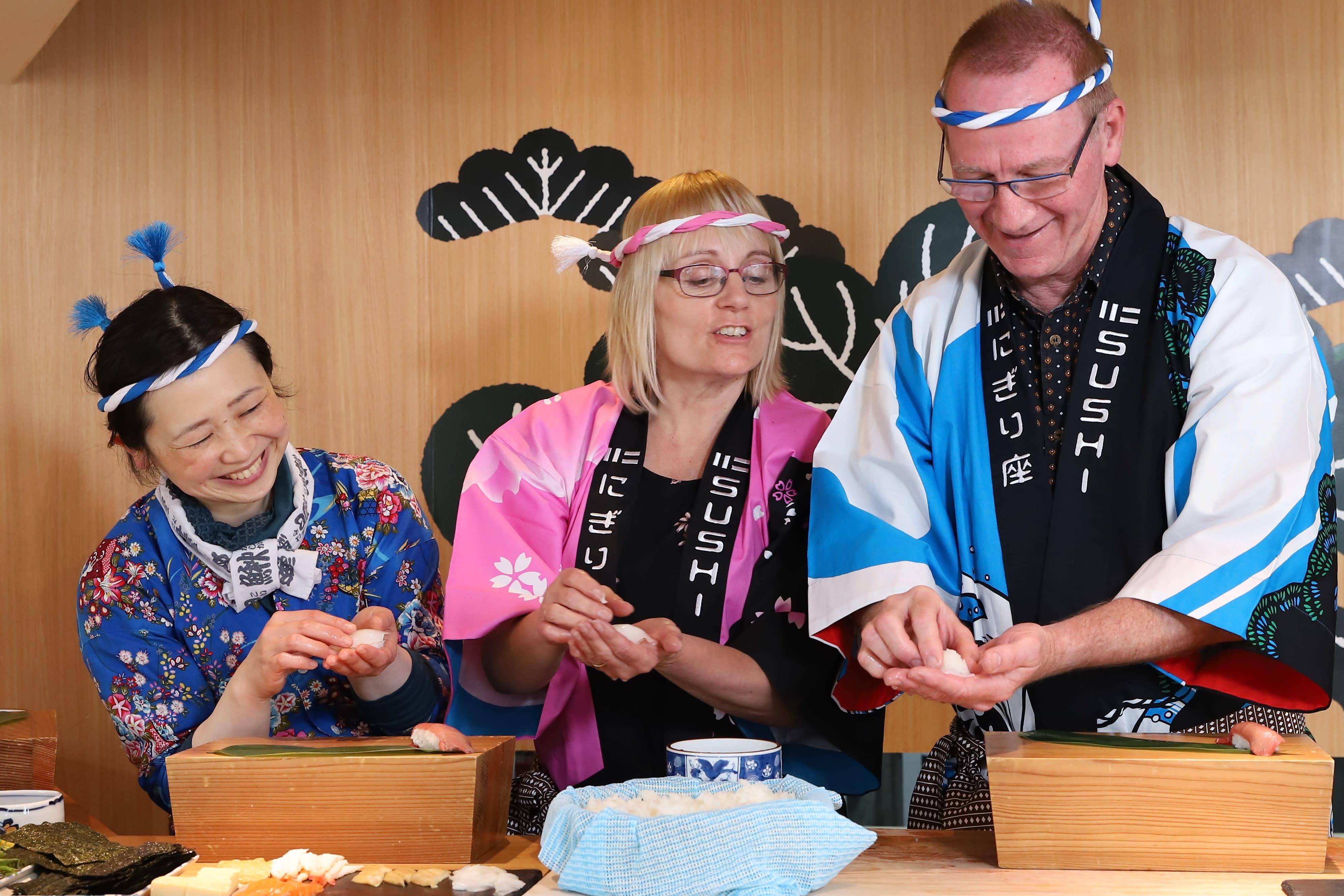 Hiroshima Sushi Making Experience Wearing Happi & Hachimaki