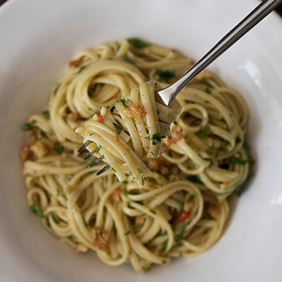 Image of Anchovy Pasta with Garlic Breadcrumbs