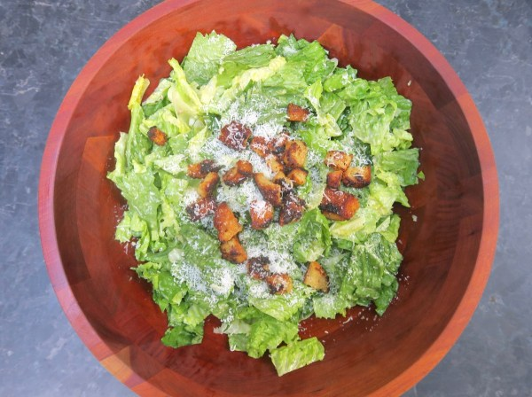 Image ofcaesar salad with skillet croutons