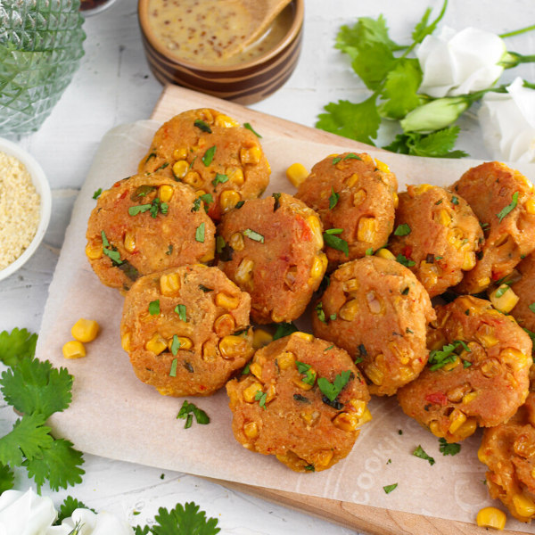Image of Corn Fritters with Cheesy Maple Mustard