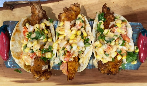 Image of Fried Blackened Catfish Tacos with Corn Salsa