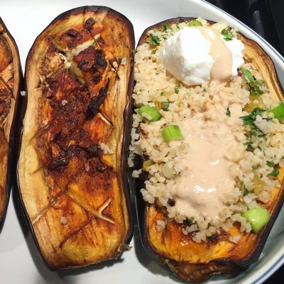 Image of Roasted Eggplant with Rhubarb Couscous