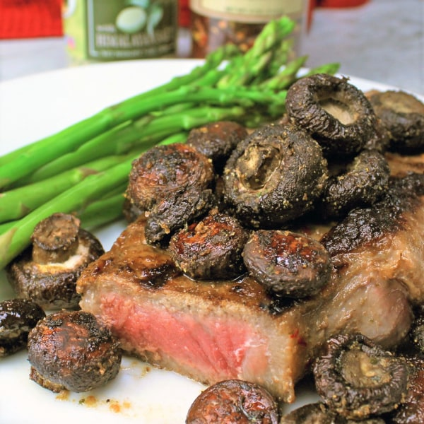 Image of Spicy Lemon Pepper Steak with Roasted Lemon Pepper Mushrooms
