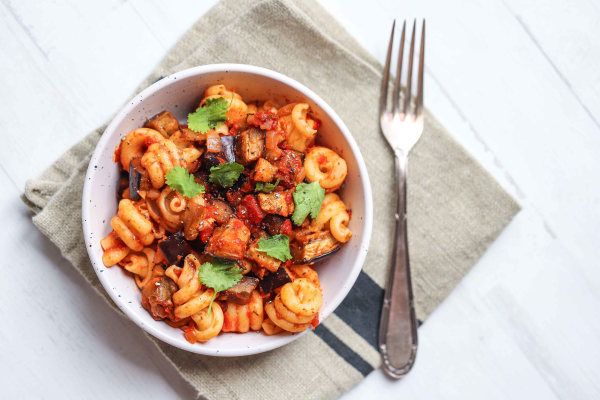 Image of Vegan Aubergine & Tomato Pasta Bake