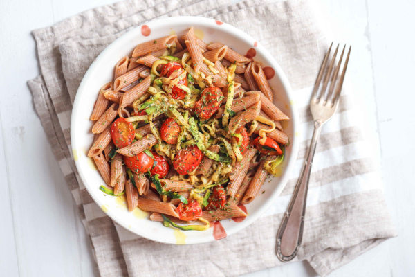 Image ofVegan Zucchini Tomato Pasta Recipe