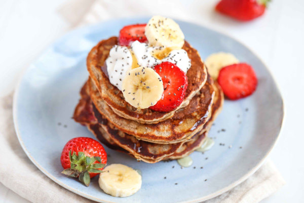 Image of Vegan Banana Strawberries Pancake Recipe