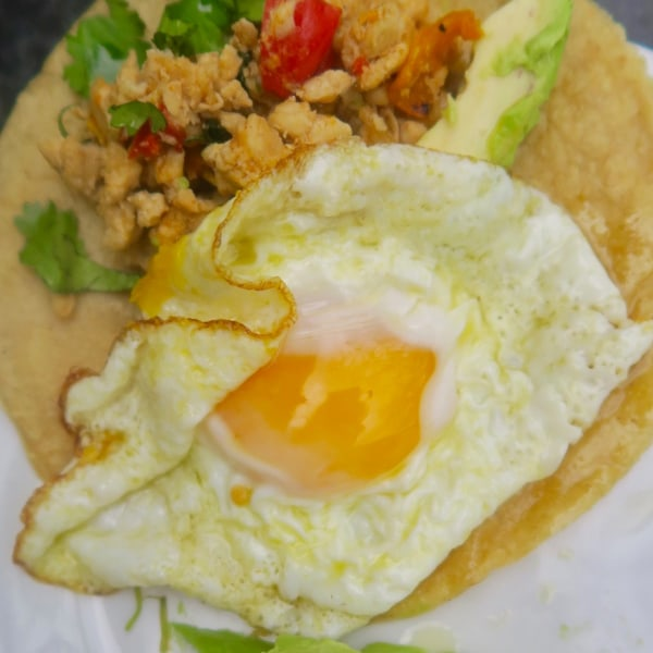 Image of ultimate fried egg & chicken breakfast taco not necessarily for breakfast!