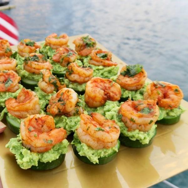 Image ofcajun shrimp appetizer with avocado and cucumber