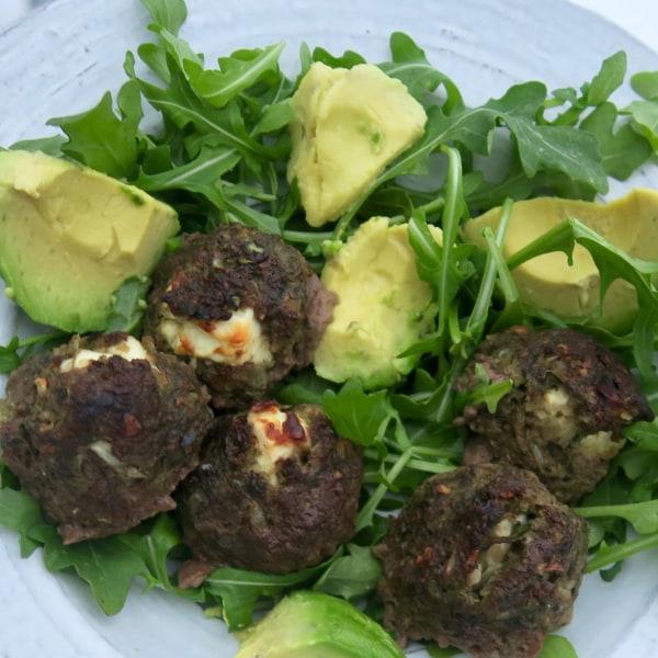 Image ofketo style mediterranean feta meatballs