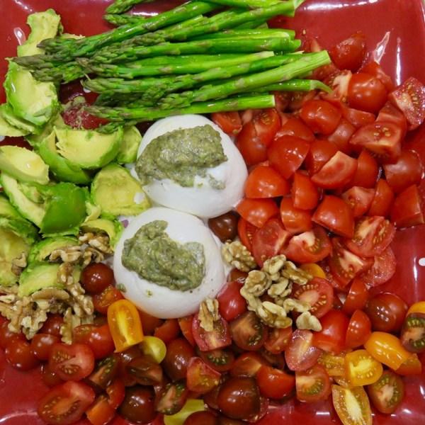 Image ofburrata with pesto and veggies