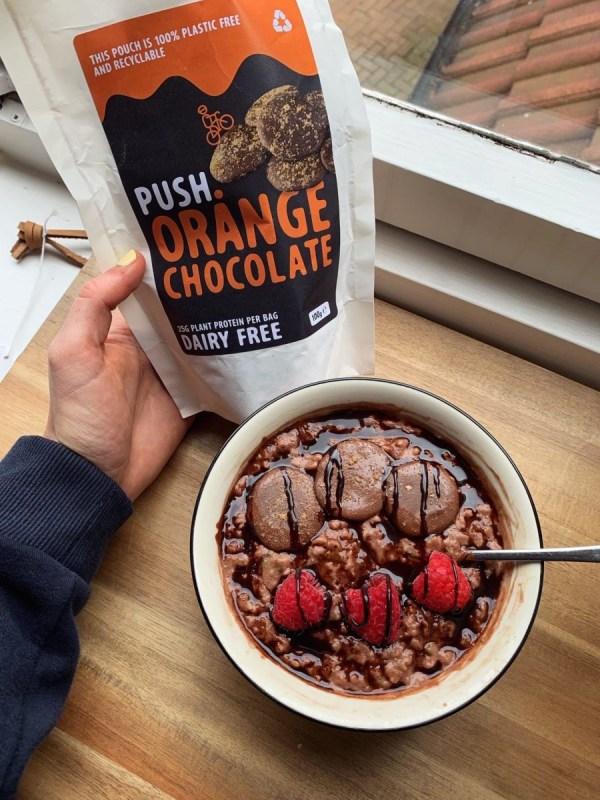 Image ofDouble chocolate and orange oats with raspberries