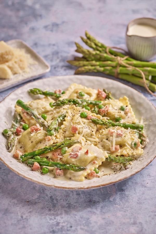 Image ofAsparagus & Mozzarella Ravioli with Pancetta & Peas