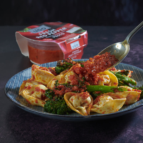 Image ofSpicy Salami Tortelli with Red Pepper Pesto & Chargrilled Tenderstem Broccoli