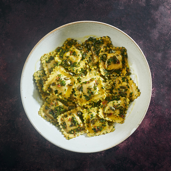 Image ofSpiced Butternut Squash Ravioli with Spinach Chermoula Dressing