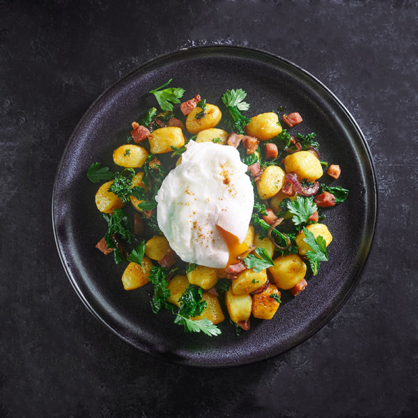 Image ofKale & Pancetta Gnocchi Hash with Poached Egg & Paprika
