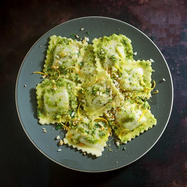 Image ofPorcini Mushroom & Spinach Ravioli with Pesto & Pangrattato