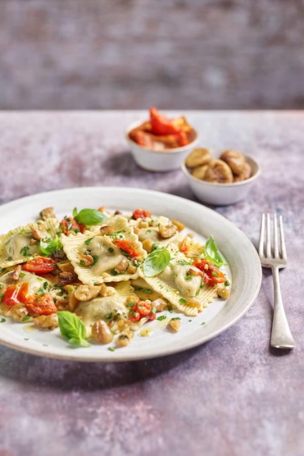 Image ofPorcini Mushroom & Spinach Ravioli with Sunblush Tomatoes & Chestnuts