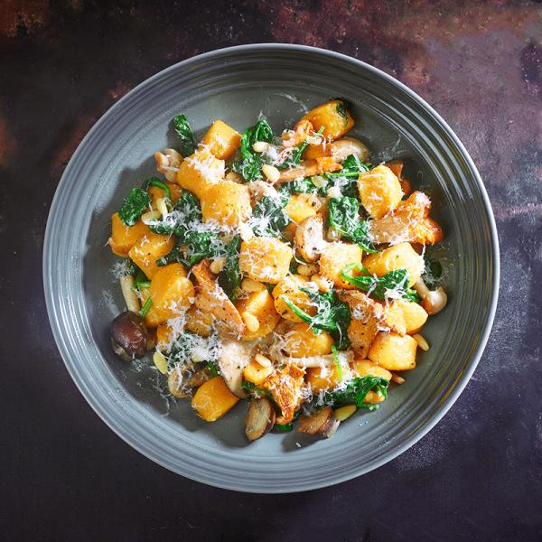 Image ofPumpkin Gnocchi with Creamy Mushroom, Spinach & Pine Nuts