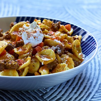 Image of Orecchiette with Spiced Lamb and Carrot Puree