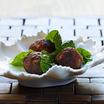 Image of Lamb Meatballs with Spinach Salad