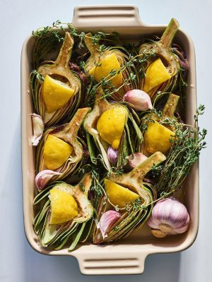 Image of Oven-Roasted Artichokes and Garlic