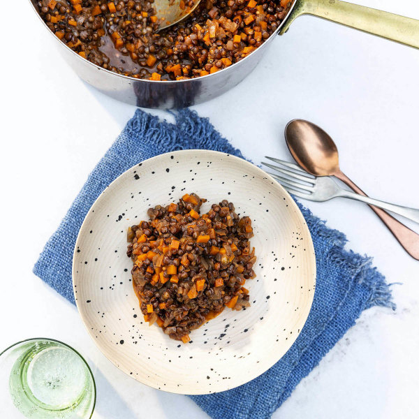 Image of Garlicky Le Puy Lentils with Mustard Seeds