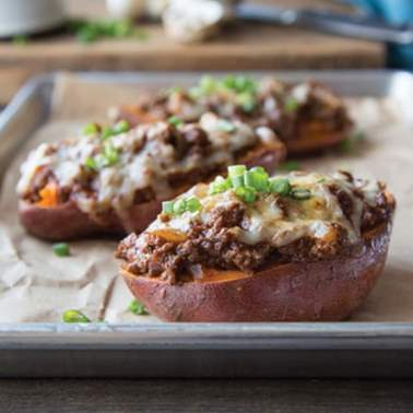 Image of Turkey and Mushroom Barbecue Stuffed Sweet Potatoes