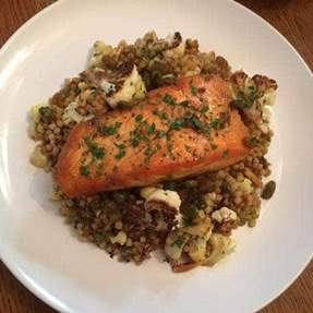 Image of Curried Couscous with Salmon and Brown Butter Vinaigrette
