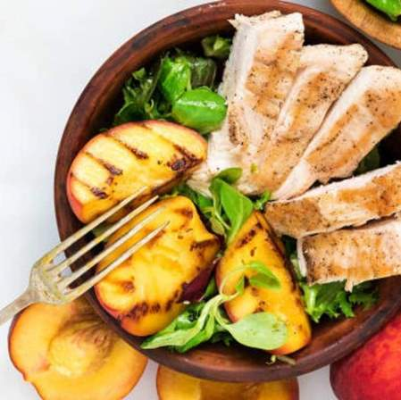 Image of Grilled Basil Balsamic Chicken and Peaches