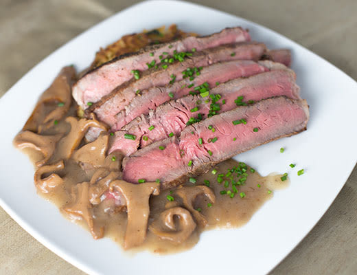 Image ofAmerican Kobe Beef Hanger Steak with Celery Root Cake and Chanterelle Mushrooms