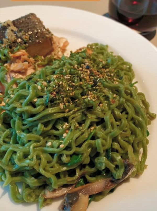 Image ofHealthy baked salmon noodles
