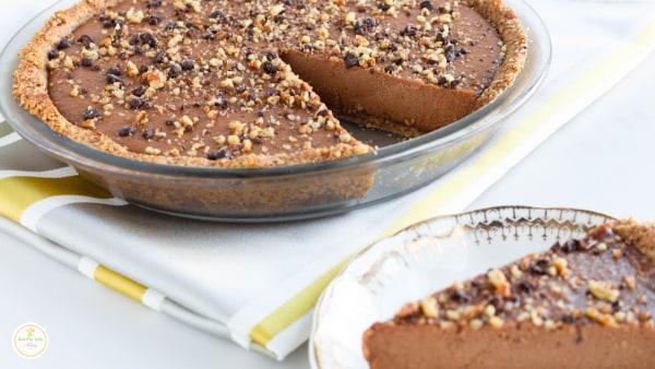Image of Pecan Chocolate Cashew Mousse Pie (Vegan)
