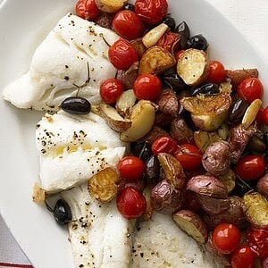 Image of Roasted Cod with Potatoes and Olives