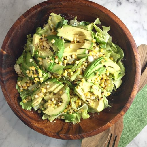 Image of Grilled Corn & Avocado Salad with Creamy Feta Dressing