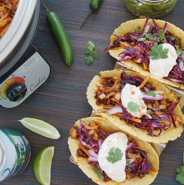 Image of Beach Blonde Crafted Carnitas Tacos with Key Lime Cider Cilantro Slaw and Chipotle Cream