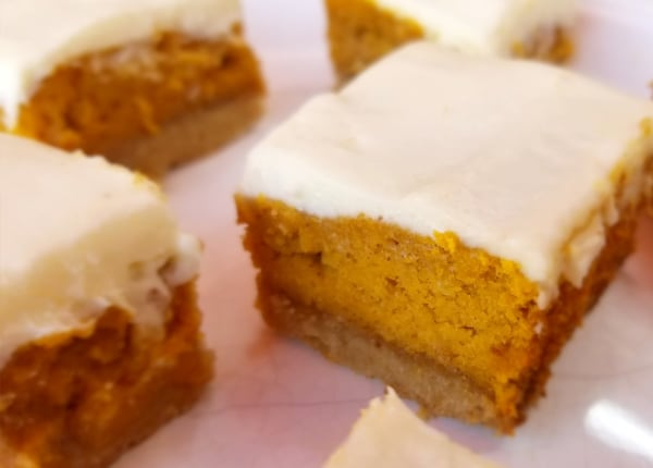 Image of Keto Pumpkin Bars with Cream Cheese Frosting and a Buttery Walnut Crust