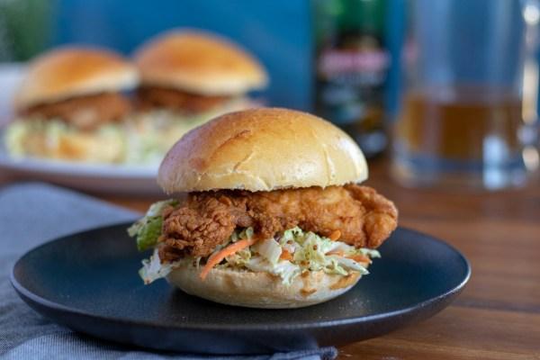 Image of Crispy Chicken Burger with Honey Mustard Slaw