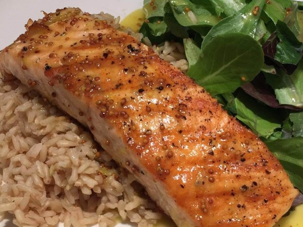 Image of Oven Roasted Salmon with Mustard Vinaigrette