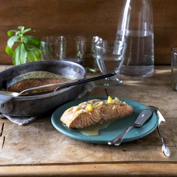 Image ofBasil & Garlic Poached Salmon