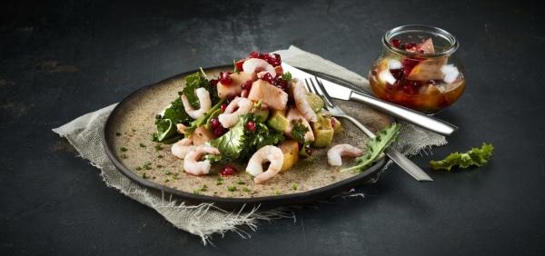 Image ofShrimp & Kale Salad with Apple, Avocado and Pomegranate