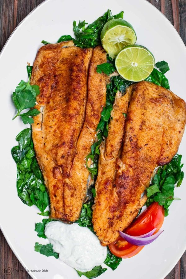 Image ofMediterranean Pan Seared Trout with Tzatziki
