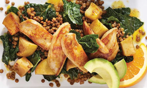 Image of Apple Chicken Over Spicy Lentils