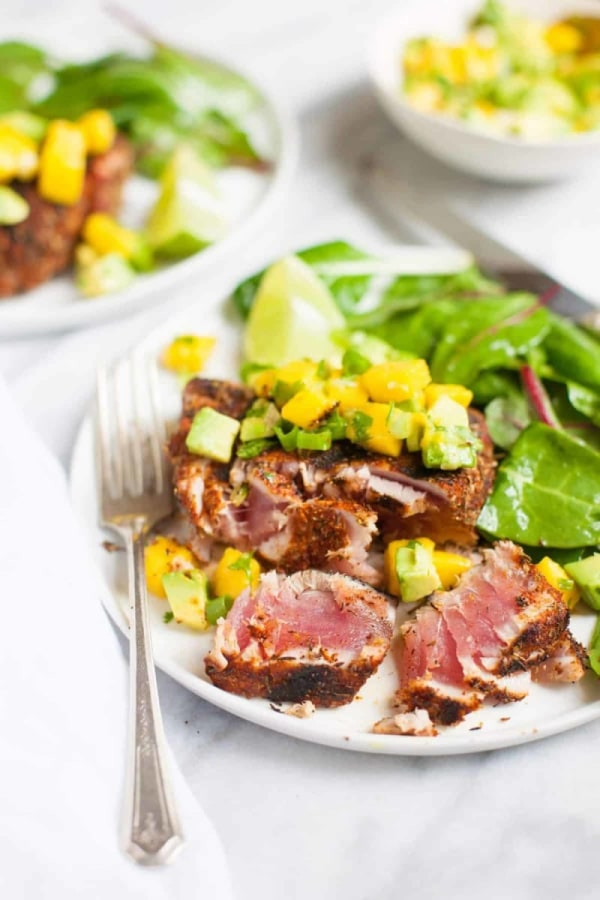 Image ofGrilled Blackened Tuna Steaks with Mango Avocado Salsa