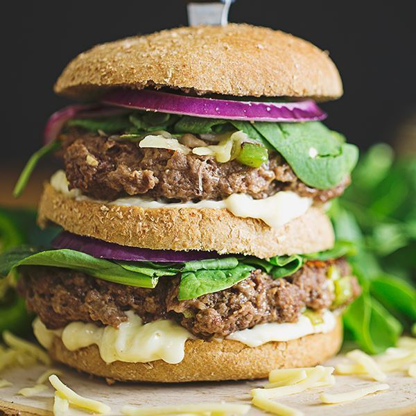 Image of Cheese and Jalapeno Stuffed Burger