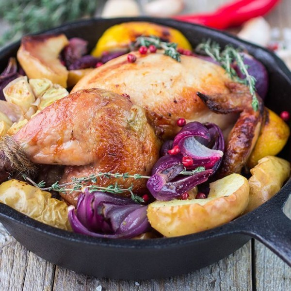 Image of Cider-Braised Chicken with Apples and Onions