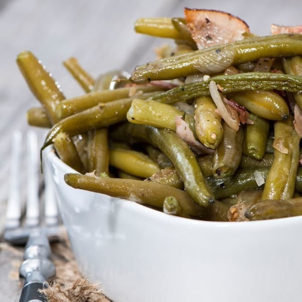 Image of Fresh Green Beans and Bacon