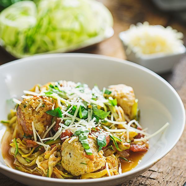 Image ofTurkey Meatballs with Easy Marinara and Zucchini Noodle