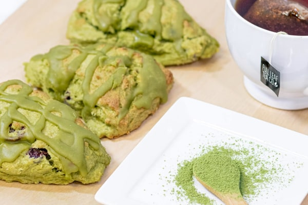 Image ofOrange Cranberry Matcha Scones with Maple Matcha Glaze